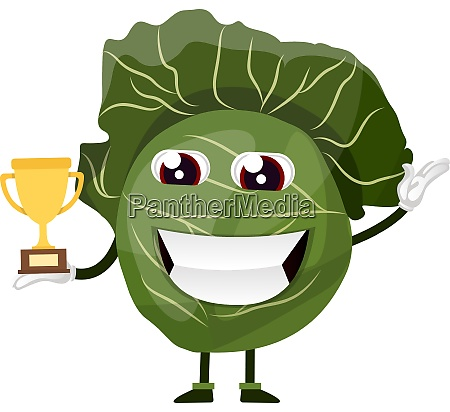 cabbage is holding a trophy illustration