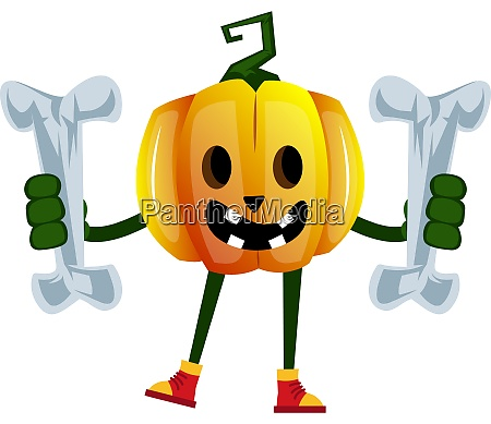 pumpkin with bones illustration vector on