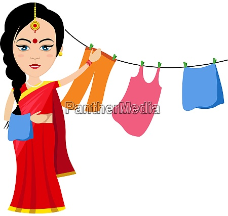 indian woman with clothes illustration vector