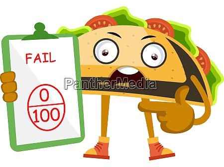 taco fail on test illustration vector