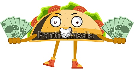 taco with money illustration vector on