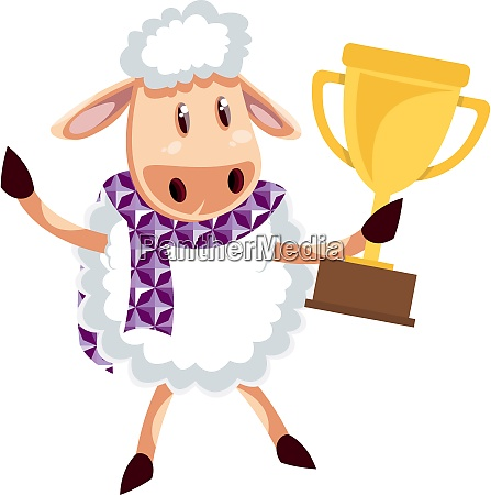 sheep with trophy illustration vector on