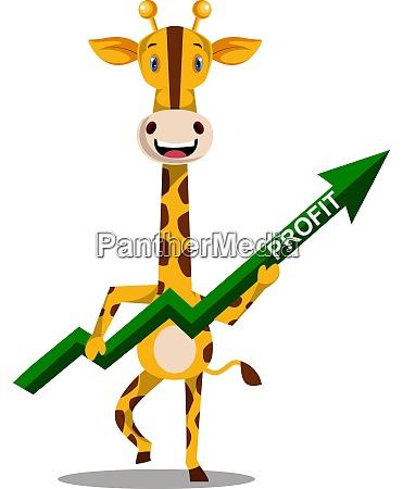 giraffe with green arrow illustration vector