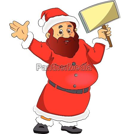 vector of santa claus holding a