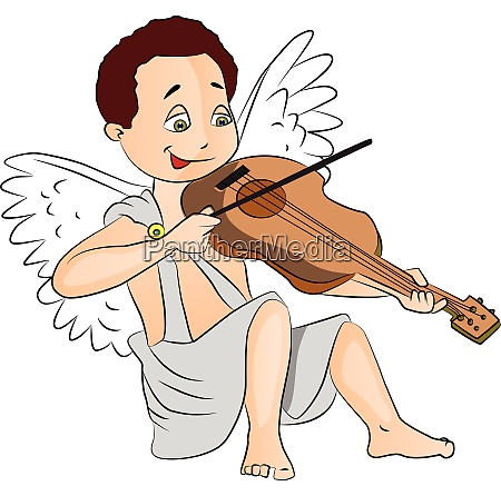 vector of fairy boy playing violin