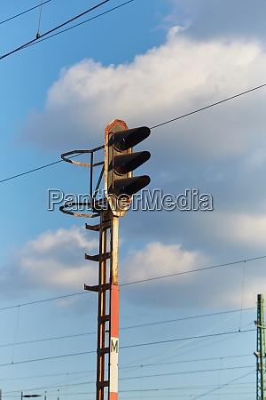 railway signal light on a rusty