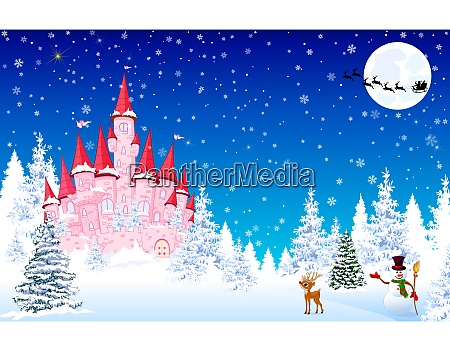 pink, castle, snow, forest, night, christmas - 27526365