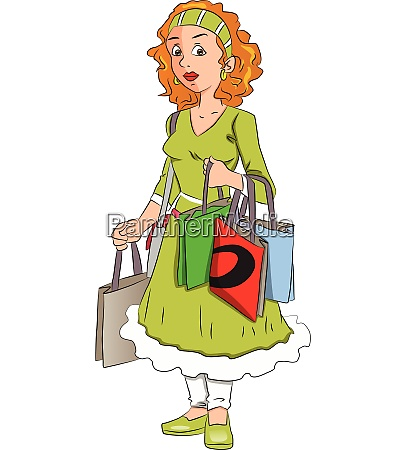 vector of woman carrying shopping bags