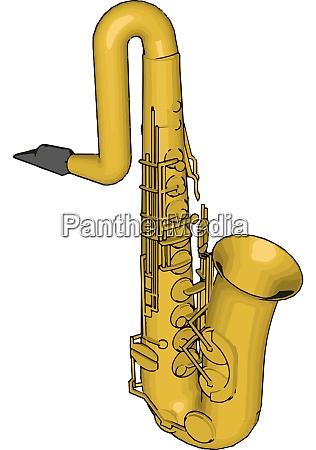 yellow saxophone illustration vector on white