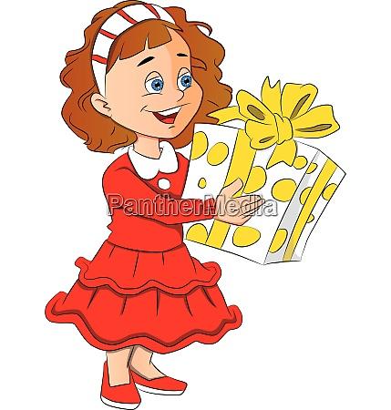 vector of little girl holding giftbox
