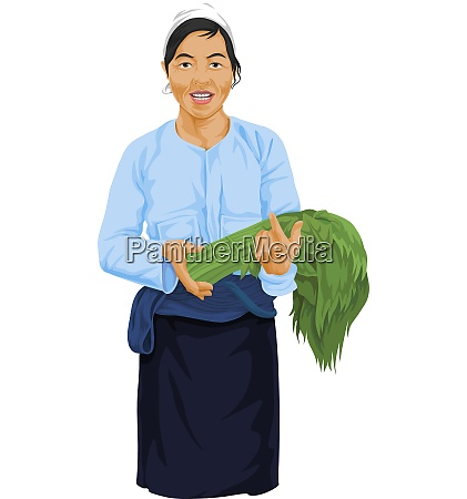 vector of woman holding fresh vegetable