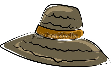 beach woman hat illustration vector on