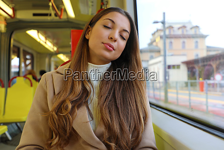 people on public transport tired young