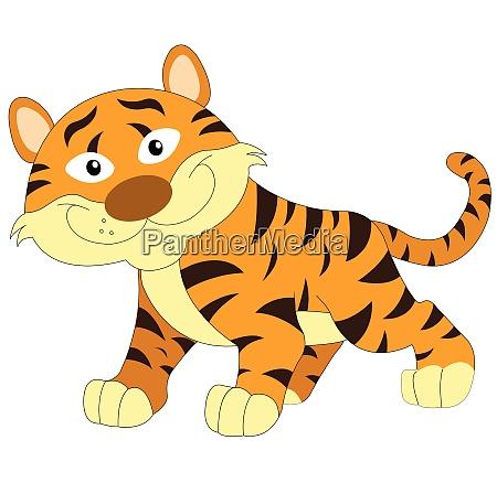 cute orange and brown tiger illustration