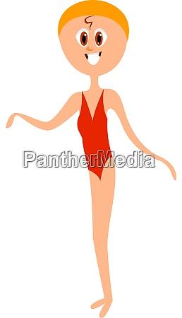 girl in red swimsuit illustration vector