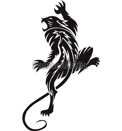 panther tattoo vintage engraving