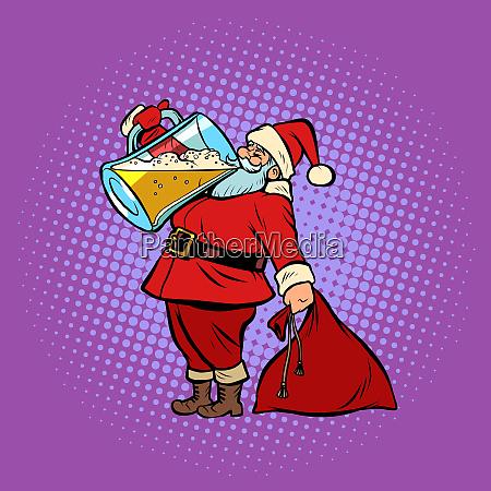 santa claus drinking beer christmas and