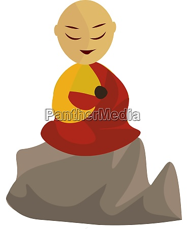 monk illustration vector on white background