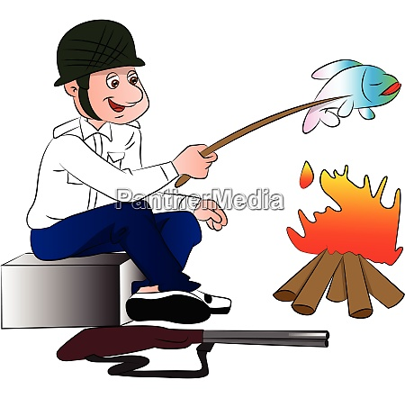vector of hunter cooking fish