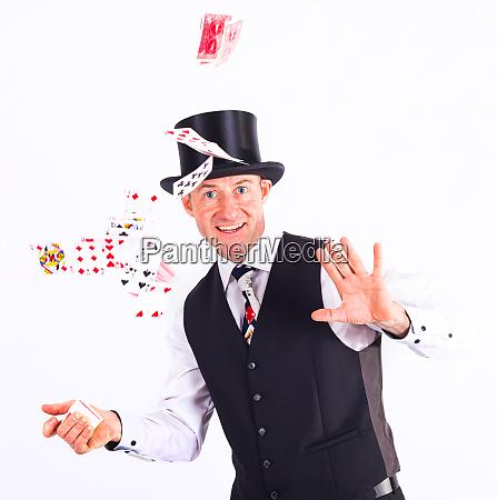 magician shows a trick