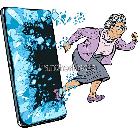 female retired lady and new technology