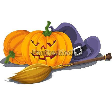 vector of halloween pumpkin with witchs