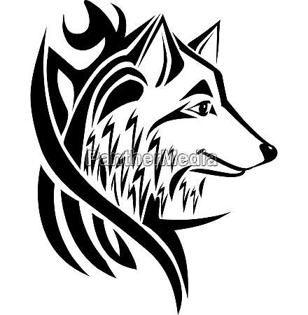 tattoo design wolf head vintage engraving