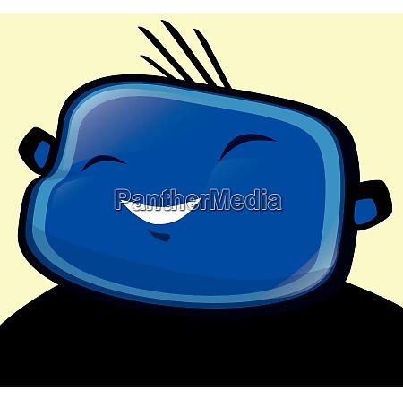 happy boy blue illustration