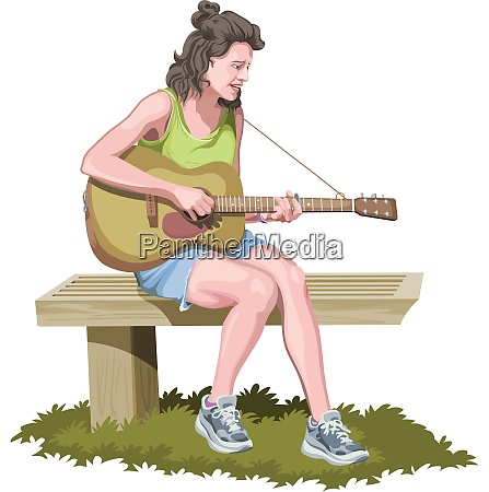 vector of woman playing guitar