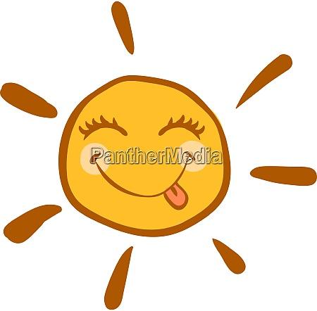 happy sun illustration vector on white