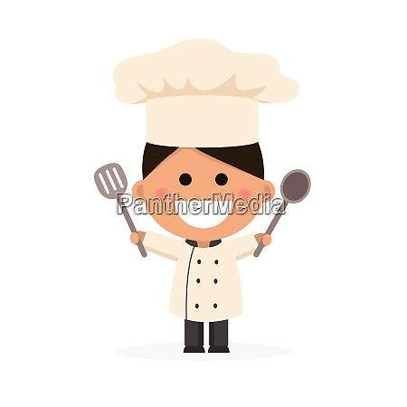 boy dressed as a chef flat