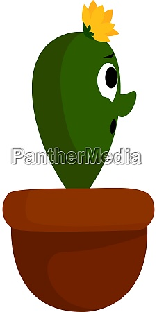 cactus in pot illustration vector on