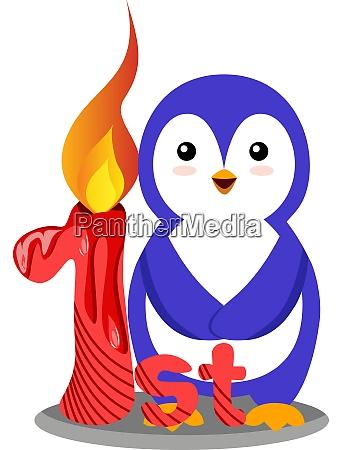 penguin first birthday illustration vector on