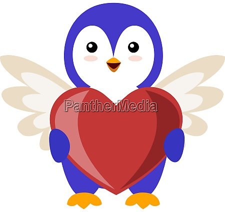 penguin with big heart illustration vector