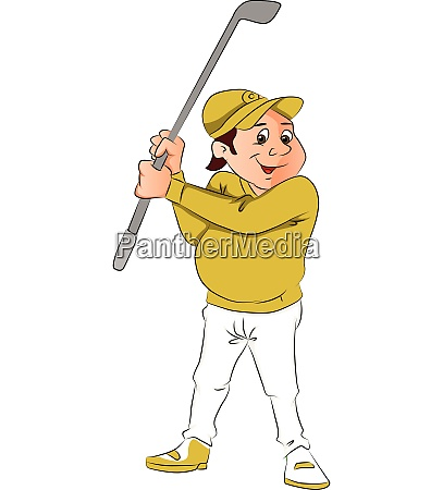 vector portrait of male golfer holding