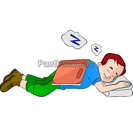 boy falling asleep while studying illustration