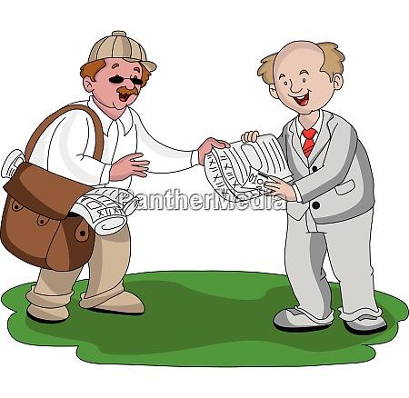 vector of vendor selling newspaper