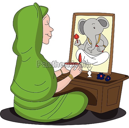 vector of woman worshipping lord ganesha