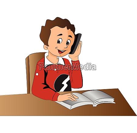 boy using a cellphone illustration