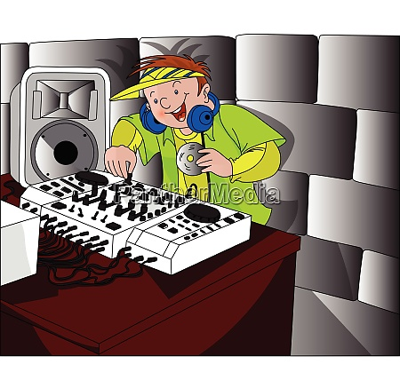 vector of happy dj playing music