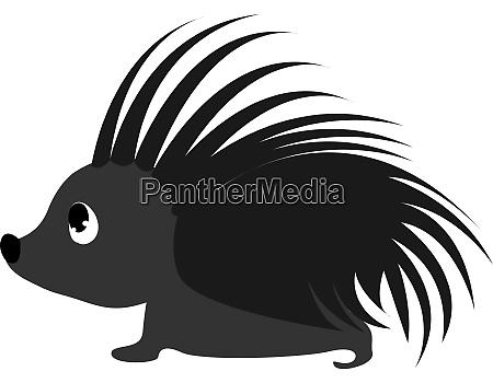 black hedgehog illustration vector on white
