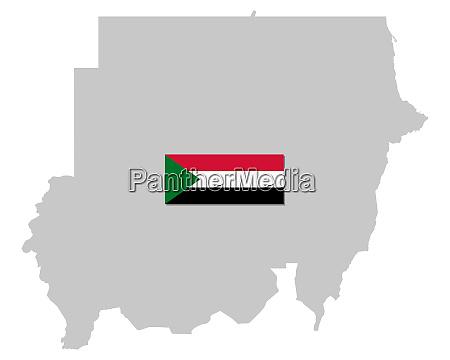 fahne und landkarte des sudan