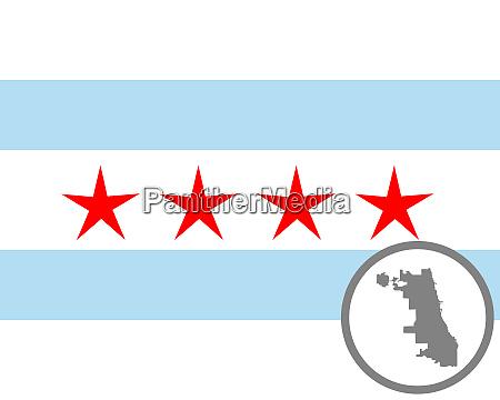 fahne und landkarte von chicago