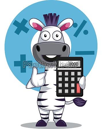 zebra with calculator illustration vector on