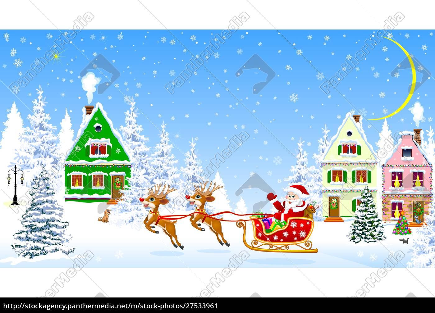 santa, on, deers, on, the, background - 27533961