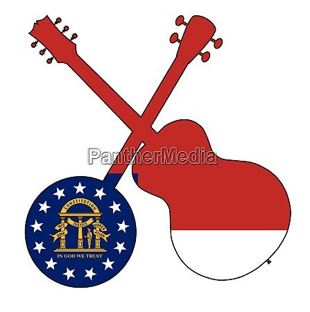 georgia state flag banjo and guitar