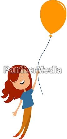 little girl with balloon illustration vector