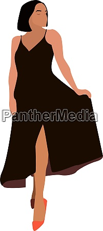 girl with brown dress illustration vector