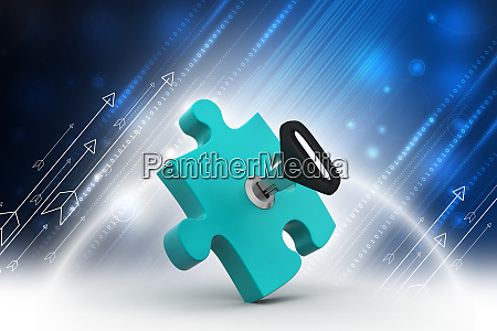 puzzle with key in color background