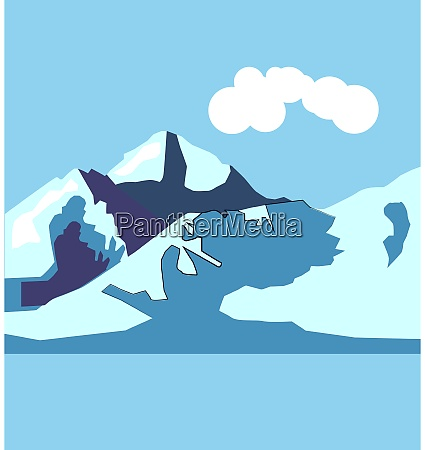 mountain illustration vector on white background